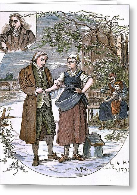 Vaccination Greeting Cards - Jenner: Vaccination, 1796 Greeting Card by Granger