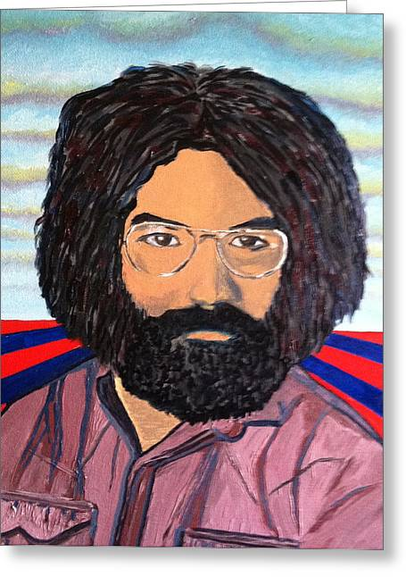 Counterculture Paintings Greeting Cards - Jerry Garcia Greeting Card by Joe Ballone
