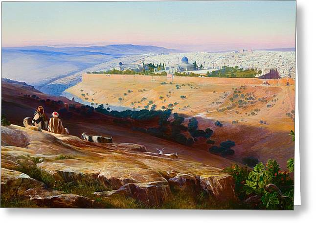 Mount Olives Greeting Cards - Jerusalem from the Mount of Olives Greeting Card by Edward Lear