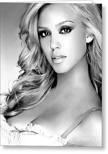 Jessica Alba Greeting Cards - #1 Jessica Alba Greeting Card by Alan Armstrong