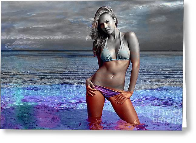 Jessica Alba Greeting Card by Marvin Blaine