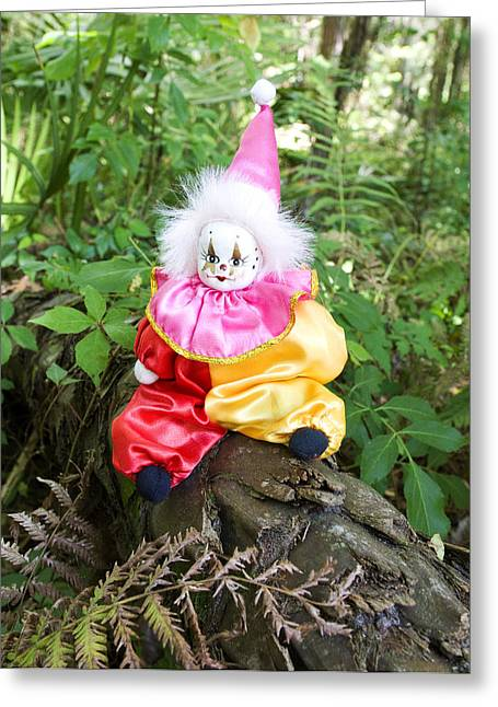 Figurines Greeting Cards - Jester in the Forest Greeting Card by Sharon Cummings