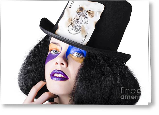 Jester Greeting Cards - Jester with joker card on hat Greeting Card by Ryan Jorgensen