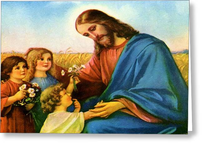 Catholic Art Greeting Cards - Jesus And Children Greeting Card by Victor Gladkiy