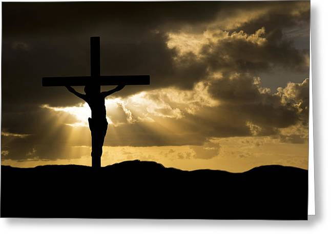 Creative Spirit Greeting Cards - Jesus Christ Crucifixion on Good Friday Silhouette Greeting Card by Matthew Gibson