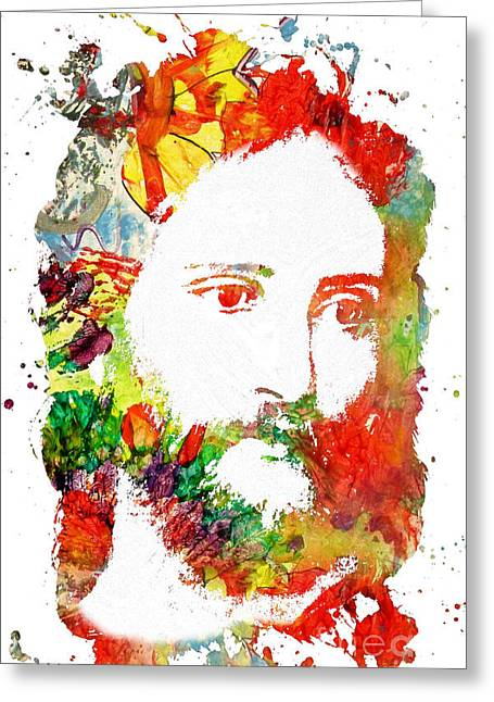 Laying Under Stars Greeting Cards - Jesus Christ - Watercolor Greeting Card by Michael Braham