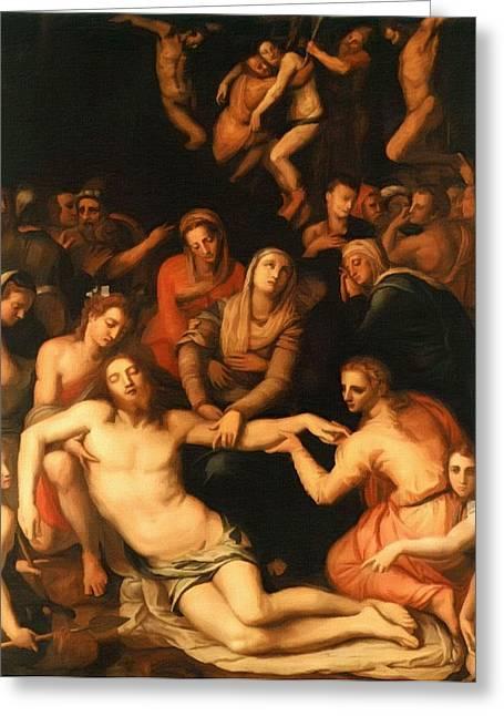 Catholic Art Greeting Cards - Jesus Crucifix Greeting Card by Victor Gladkiy