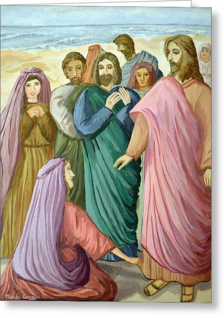 Jesus Mixed Media Greeting Cards - Jesus heals the woman Greeting Card by Thecla Correya