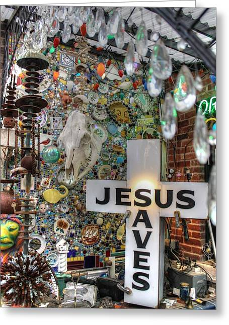 Quirky Greeting Cards - Jesus Saves Greeting Card by Jane Linders