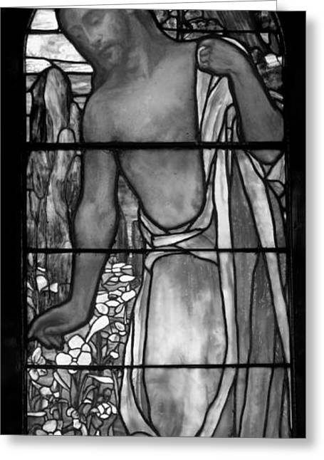 Stained Glass Art Greeting Cards - Jesus Stained Art - St Pauls Episcopal Church Selma Alabama Greeting Card by Mountain Dreams