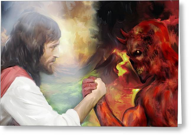 Kinkade Greeting Cards - Jesus vs Satan Greeting Card by Mark Spears