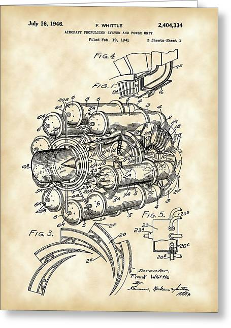 Turbojet Greeting Cards - Jet Engine Patent 1941 - Vintage Greeting Card by Stephen Younts