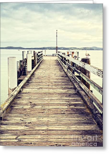 Jetty Greeting Cards - Jetty at Maraetai Beach Auckland New Zealand Greeting Card by Colin and Linda McKie