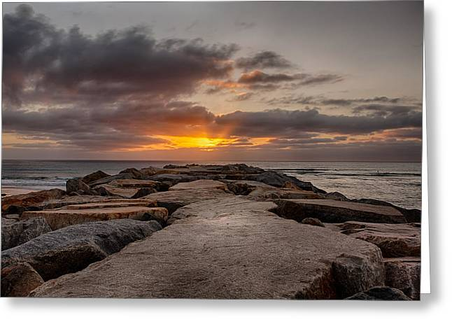 Locations Greeting Cards - Jetty Flare Greeting Card by Peter Tellone