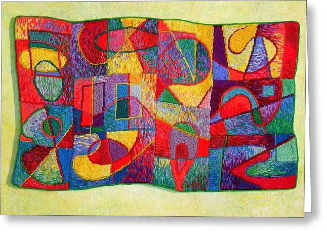 Diane Fine Greeting Cards - Jigsaw Tapestry Greeting Card by Diane Fine