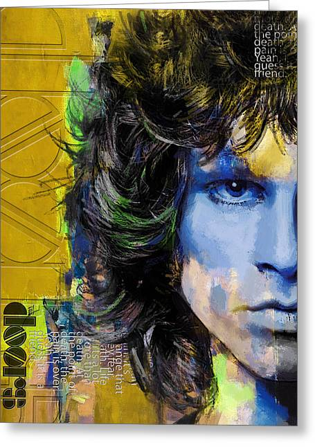 Sun Rays Paintings Greeting Cards - Jim Morrison Greeting Card by Corporate Art Task Force