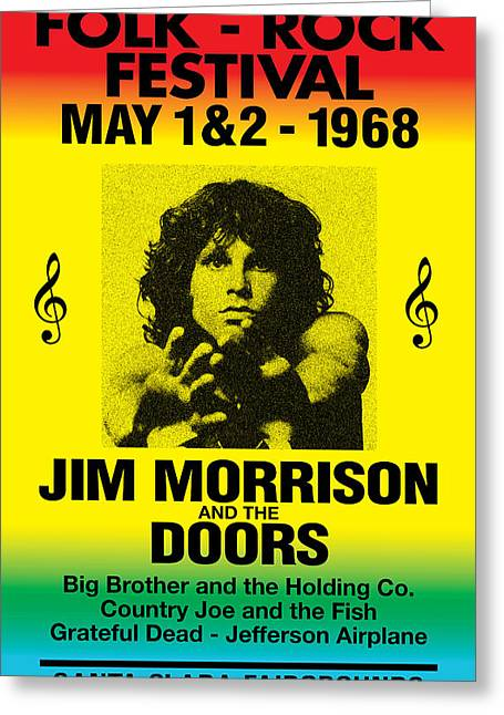 Decorative Greeting Cards - Jim Morrison Greeting Card by Gary Grayson