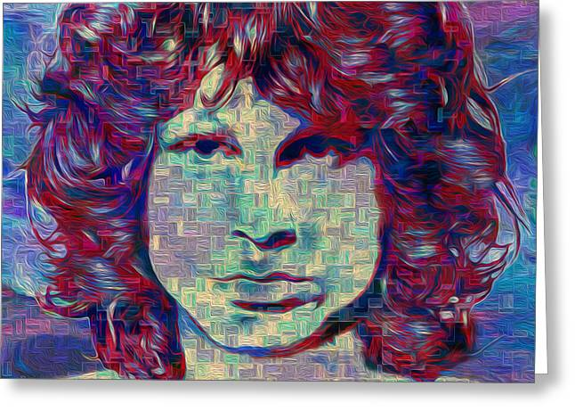 Music History Greeting Cards - Jim Morrison Greeting Card by Jack Zulli