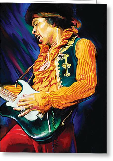 Jimi Hendrix Artwork Greeting Card by Sheraz A