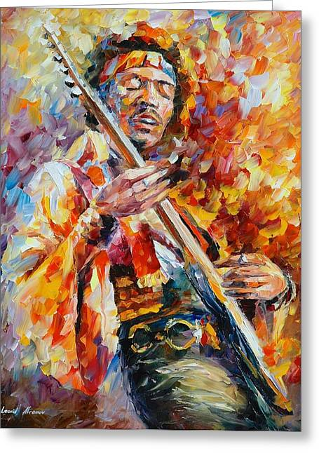 Certificates Greeting Cards - Jimi Hendrix Greeting Card by Leonid Afremov