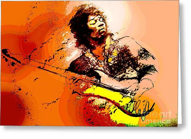 Jimi Hendrix Greeting Card by Maja Sokolowska