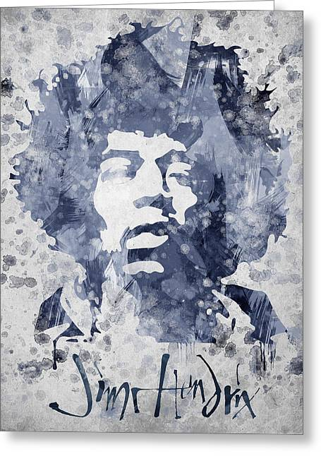 Hard Rock Mixed Media Greeting Cards - Jimi Hendrix Portrait Greeting Card by Aged Pixel