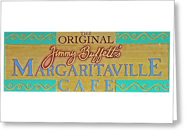 Night Cafe Photographs Greeting Cards - Jimmy Buffetts Margaritaville Cafe Sign - The Original Greeting Card by John Stephens