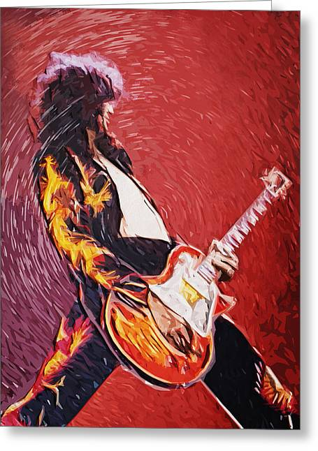 Taylan Soyturk Greeting Cards - Jimmy Page  Greeting Card by Taylan Soyturk