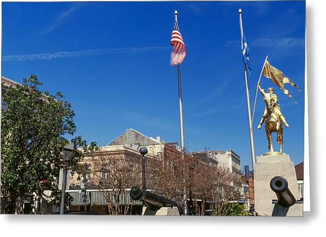 Flag Of Usa Greeting Cards - Joan Of Arc Maid Of Orleans Statue Greeting Card by Panoramic Images