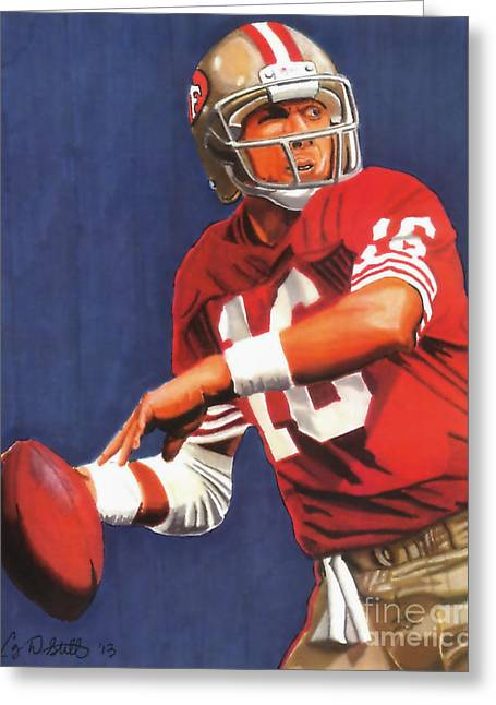 49ers Drawings Greeting Cards - Joe Montana Greeting Card by Cory Still