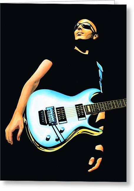 Joe Satriani Painting Greeting Card by Paul Meijering