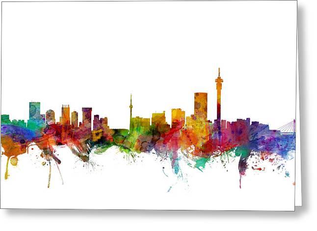 Skyline Greeting Cards - Johannesburg South Africa Skyline Greeting Card by Michael Tompsett