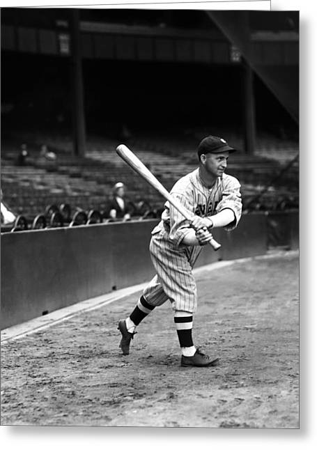 Cleveland Indians Stadium Greeting Cards - John A. Jackie Tavener Greeting Card by Retro Images Archive