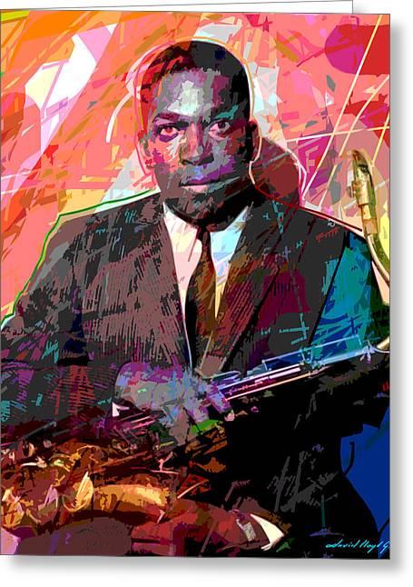 Jazz Player Greeting Cards - John Coltrane Greeting Card by David Lloyd Glover