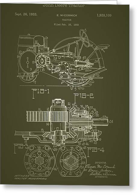John Deere Tractor Patent 1933 Greeting Card by Mountain Dreams
