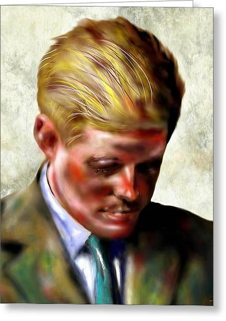President Of America Mixed Media Greeting Cards - John F. Kennedy Greeting Card by Daniel Janda