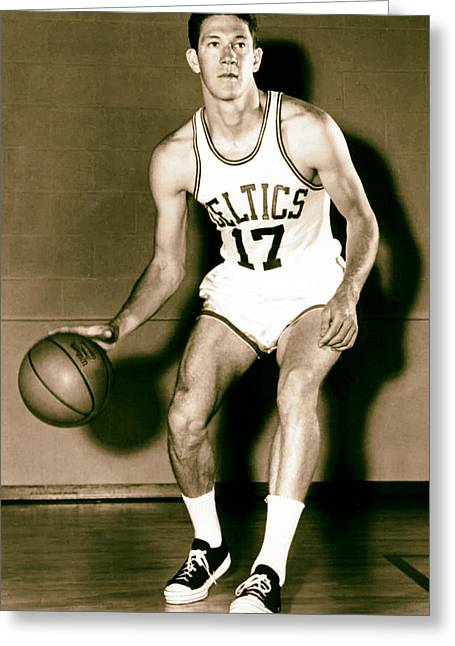 Sixth Greeting Cards - John Havlicek of the Boston Celtics 1960s Greeting Card by Mountain Dreams