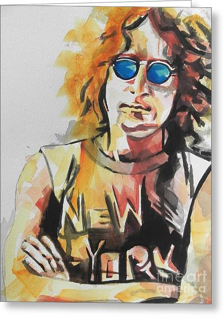 Famous Artist Greeting Cards - John Lennon 04 Greeting Card by Chrisann Ellis