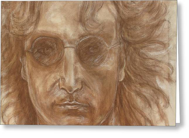 New York Pastels Greeting Cards - John Lennon Greeting Card by Laura Corebello