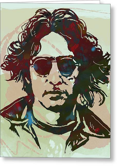 Acclaim Greeting Cards - John Lennon pop art sketch poster Greeting Card by Kim Wang