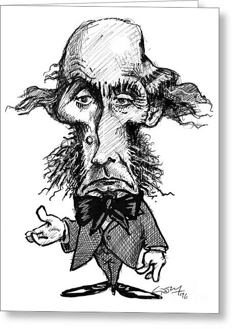 Liberal Greeting Cards - John Mill, Caricature Greeting Card by Gary Brown