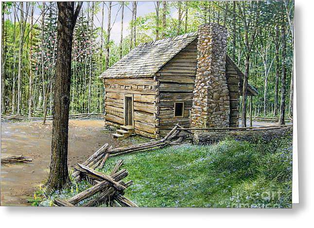 Split Rail Fence Greeting Cards - John Ownby Cabin  Greeting Card by Bob  George