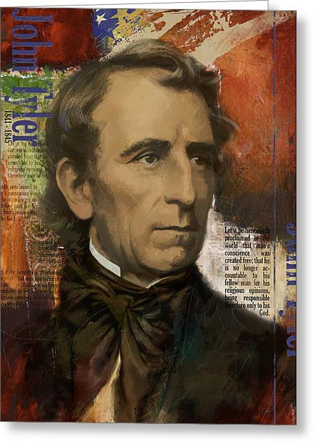 John Quincy Adams Greeting Cards - John Tyler Greeting Card by Corporate Art Task Force