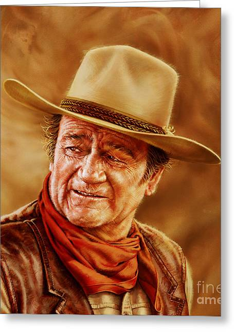 Hollywood Legend Greeting Cards - John Wayne Greeting Card by Dick Bobnick