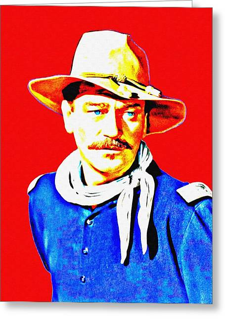 Mustaches Mixed Media Greeting Cards - John Wayne in Rio Grande Greeting Card by Art Cinema Gallery