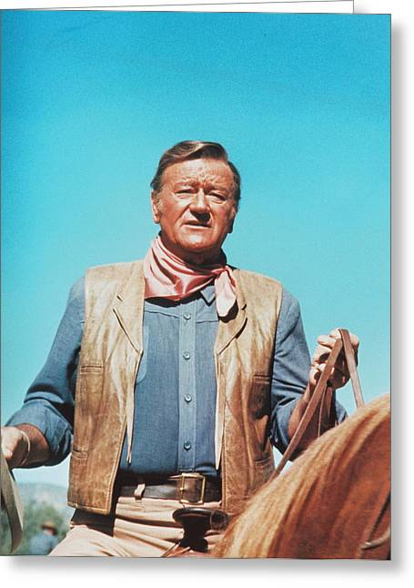 The Cowboy Greeting Cards - John Wayne in The Cowboys Greeting Card by Silver Screen