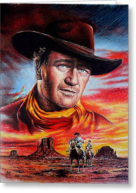 Bravery Drawings Greeting Cards - John Wayne Searching Greeting Card by Andrew Read