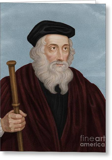 1300s Greeting Cards - John Wycliffe, English Theologian Greeting Card by Maria Platt-Evans
