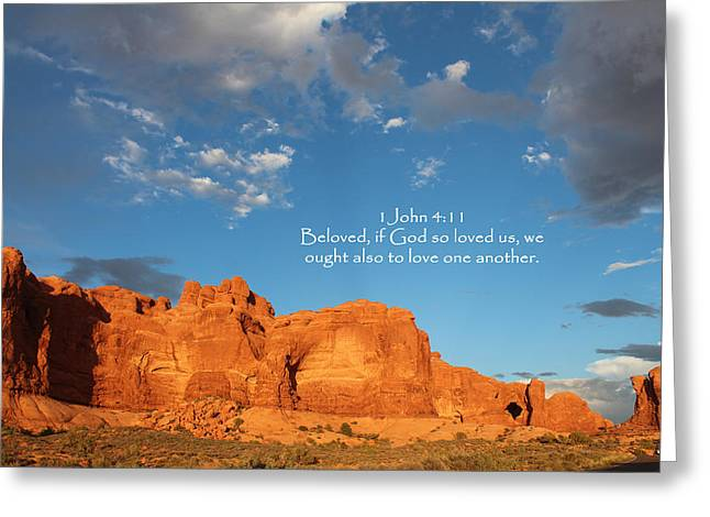 Kingjames Greeting Cards - Arches 1 John 4-11 Greeting Card by Nelson Skinner
