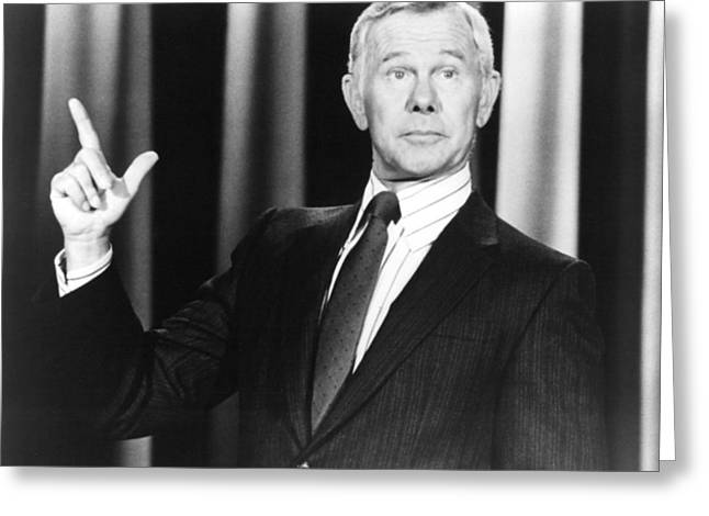 Tonight Greeting Cards - Johnny Carson in The Tonight Show Starring Johnny Carson  Greeting Card by Silver Screen